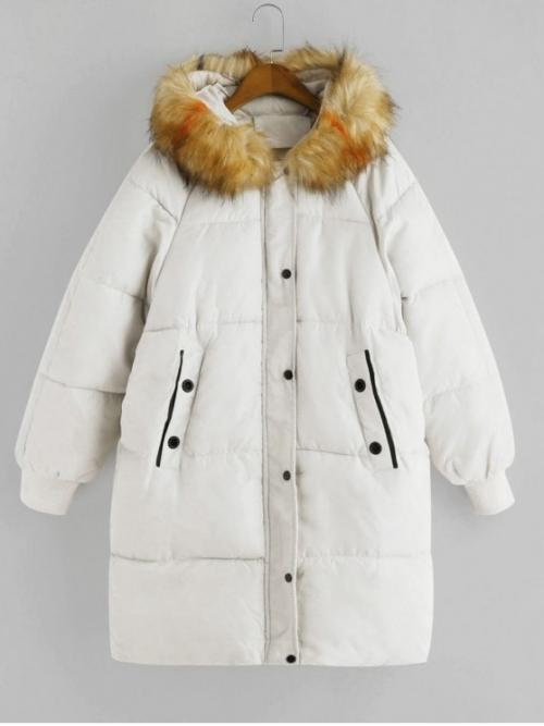 Winter No Nonelastic Button and Pockets Others Hooded Full Long Wide-waisted Down Daily and Going Fashion Fur Collar Pockets Down Parka Coat