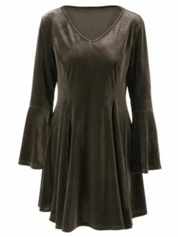 Fall and Spring and Winter No Solid Long V-Collar Mini A-Line Brief Velvet Bell Sleeves Fit and Flare Dress
