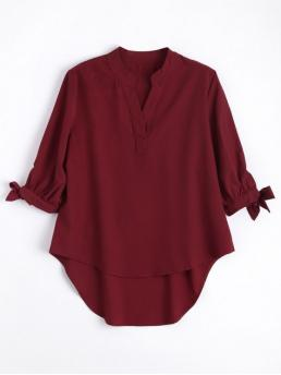Summer Solid Three Regular V-Collar Fashion Casual Bow Tied Sleeve High Low Blouse