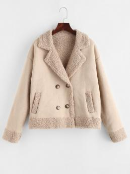 Cheap Full Sleeve Wide-waisted Polyester Solid Teddy Lined Double Breasted Suede Coat
