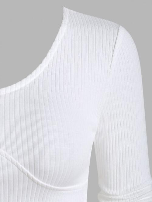 Fashion Full Sleeve Cotton,polyester Solid White Ribbed Underbust Detail Crop t Shirt
