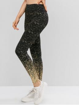 Fall and Spring and Summer 7/8 Others Elastic High Going Active Foil Print High Waisted Workout Yoga Leggings