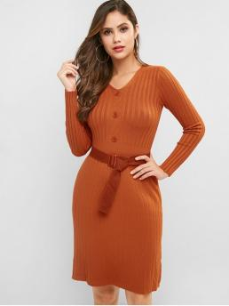 Yes Fall and Winter Solid Long V-Collar Knee-Length Sheath Casual and Day Fashion Ribbed Long Sleeve Belted Sheath Sweater Dress