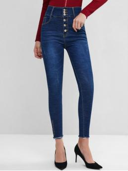 Elastic Fall and Spring Frayed and Pocket Button High Skinny Normal Dark Fashion High Waisted Frayed Hem Embroidered Skinny Jeans
