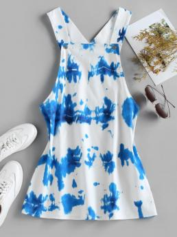 White Tie Dye Sleeveless Polyester Overall Dress on Sale