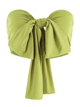 Polyester,polyurethane Solid Light Green Sexy Bowknot Tie Front Crop Tube Top on Sale