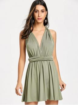 No Fall and Spring and Summer Solid Sleeveless Plunging Mini A-Line Club and Cocktail Sexy Mini Convertible Dress