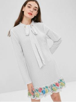 No Spring Print and Striped Ruffles Long Bowknot Mini Tunic Straight Casual and Day Cute Ruffle Striped Tunic Dress