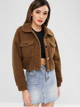 Fashion Solid Turn-down Long Short Wide-waisted Cropped Fluffy Winter Coat