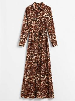 Yes Fall and Spring Leopard Long Shirt Ankle-Length A-Line Day Fashion Long Sleeve Leopard Print Maxi Shirt Dress
