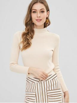 Autumn and Winter Solid Elastic Full High Regular Slim Fashion Daily and Going Pullovers Slim Knitted High Neck Sweater