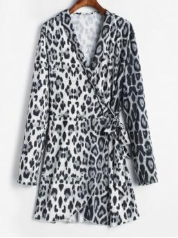 Fall No Leopard Long Shawl Wrap Asymmetrical Mini Casual  and Going Casual Leopard Print Mini Wrap Dress