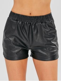 Autumn and Spring and Winter Nonelastic Pockets Solid Flat Elastic Mid Straight Fashion Fleece Lining Faux Leather Shorts