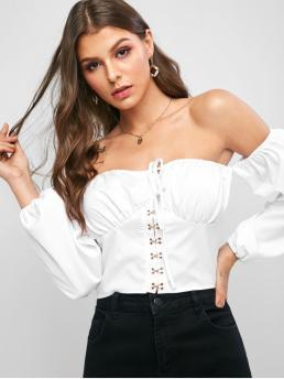 Autumn and Spring Tie Solid Full Short Nonelastic Off Fashion Daily and Night Cropped Hook And Eye Off Shoulder Blouse