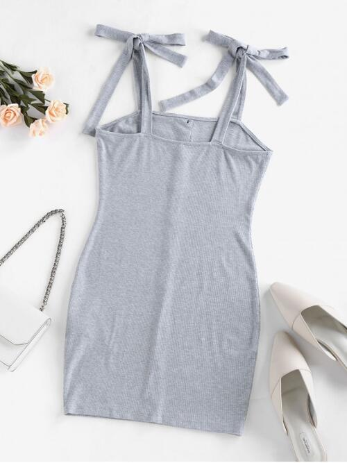 Gray Cloud Others Sleeveless Polyamide,rayon Ribbed Tie Shoulder Dress Trending now