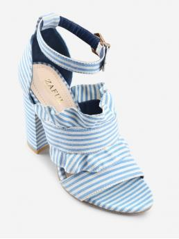 Cloth 10CM Ruffles Striped Buckle Chunky Ankle Party Sweet For Ankle Strap Ruffles Striped Block Heel Sandals