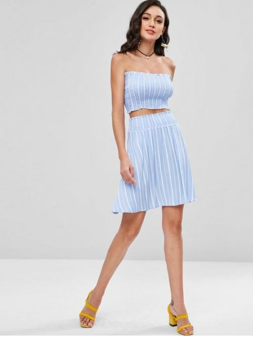 Summer Striped Pleated Elastic High Sleeveless Strapless A Cute Beach Smocked Bandeau Top and Skirt Two Piece Set