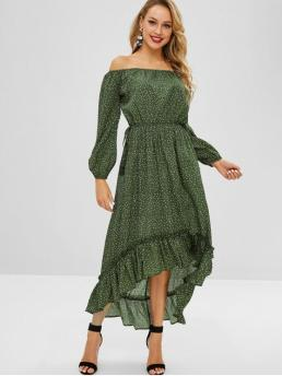 No Fall and Spring Polka Flounce Long Off Ankle-Length Asymmetrical Casual and Vacation Brief High Low Flounce Polka Dot Dress