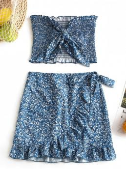 Yes Summer Ruffles Floral Flat Zipper High Sleeveless Strapless A Casual Casual Tiny Floral Smocked Ruffles Skirt Set
