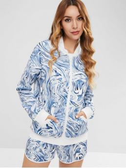 No Fall and Winter Print Flat Drawstring Mid Long Stand Regular Fashion Casual and Daily and Going Printed Jacket And Drawstring Shorts Set