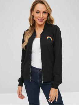 No Autumn and Spring and Winter Embroidery Rainbow Stand-Up Full Regular Slim Fashion Jackets Daily and Going Zip Up Rainbow Embroidered Jacket