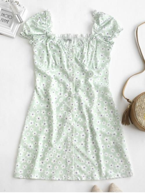 No Summer Floral Ruffles Short Round Mini A-Line Vacation Casual Ruffles Floral Print Button Up Dress