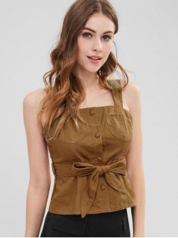 Summer Thin Solid Square Short Fashion Square Neck Smocked Belted Tank Top