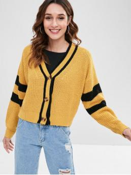 Autumn and Spring and Winter Elastic Full V-Collar Short Loose Fashion Cardigans Striped Drop Shoulder Boxy Cardigan