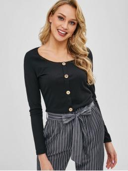 Autumn and Spring Solid Full Scoop Casual Scoop Neck Knit Long Sleeve Tee
