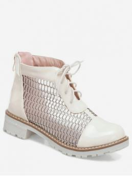 Trendy Mesh Rubber Lace-Up Patchwork Chunky Round Ankle Summer Fashion For Sheer Mesh Casual Round Toe Ankle Boots