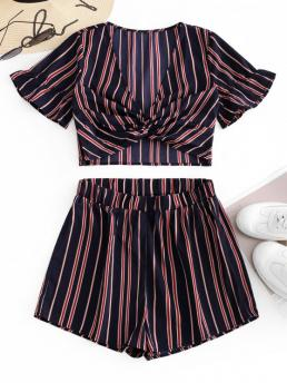 Summer Striped Flat Elastic High Short Plunging Regular Casual Casual and Daily Twist Striped Two Piece Set