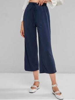 Fall and Spring Drawstring Wide Solid Loose High Casual Drawstring Wide Leg High Waisted Pants