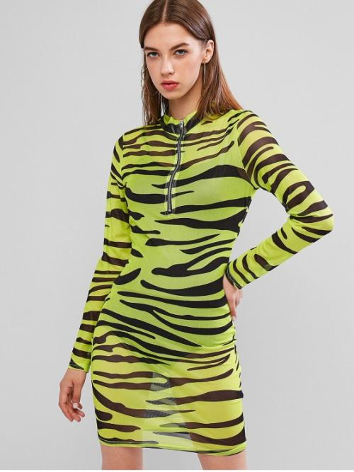No Fall Tiger Mesh and Zippers Long Mock Mini Bodycon Club and Festival and Night Sexy Half Zip Tiger Print Mesh Club Dress