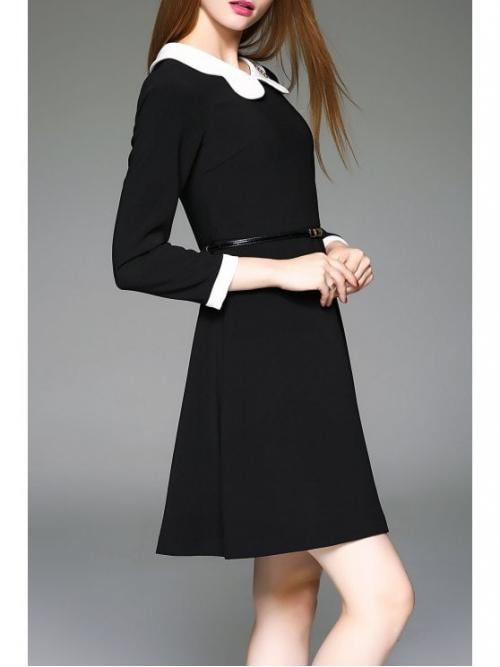 Fall and Spring No Others Long Peter Knee-Length 100% A Peter Pan Collared Dress