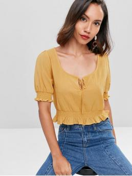 Spring and Summer Ruffles Solid Short Regular Scoop Casual Daily and Outdoor Frills Ruffled Trim Blouse