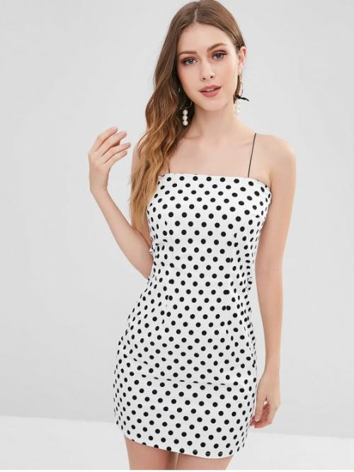 Fall and Spring and Summer No Polka Sleeveless Spaghetti Wrap Mini Club and Cocktail Cami Polka Dot Bodycon Mini Dress