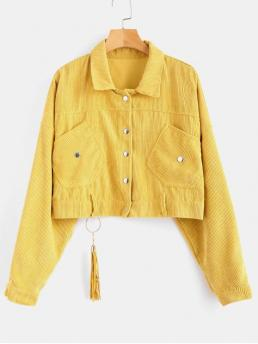 No Autumn and Spring Pockets and Tassel Solid Shirt Full Regular Wide-waisted Fashion Jackets Daily Cropped Snap Button Corduroy Jacket