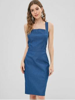 Apron Neck Chambray Zipped Pencil Dress