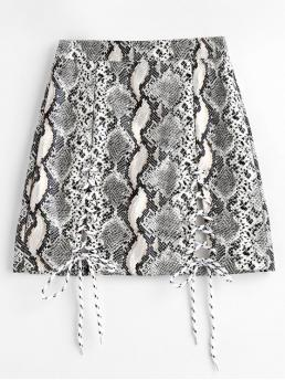 Fall and Spring and Summer Zipper Snakeskin Bodycon Mini Daily and Going Fashion Snake Print Lace Up Faux Leather Mini Skirt