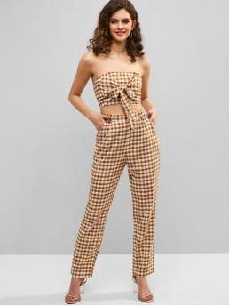 Summer Gingham Flat Zipper High Sleeveless Strapless Regular Casual Casual and Going Gingham Knotted Top and Pants Set