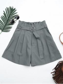 Yes Ruffles Solid Flat Zipper High Regular Fashion Ruffles Belted Wide Legged Paperbag Shorts