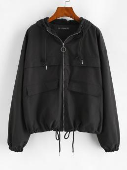 Full Sleeve Wide-waisted Cotton,polyester Solid Full Zip Windbreaker Cargo Jacket Sale