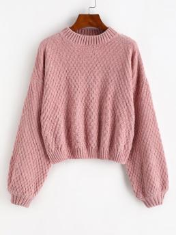 Discount Full Sleeve Pullovers Cotton,polyester Solid Drop Shoulder Lantern Sleeve Chenille Sweater