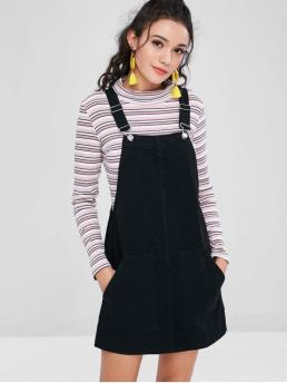 No Fall and Spring and Summer Solid Sleeveless Square Mini Pinafore A-Line Day Classic Pockets Denim Pinafore Dungaree Dress