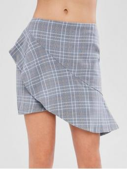 Fall and Spring and Summer Zipper Plaid Asymmetrical Mini Daily and Going Cute Asymmetrical Ruffle Checked Mini Skirt