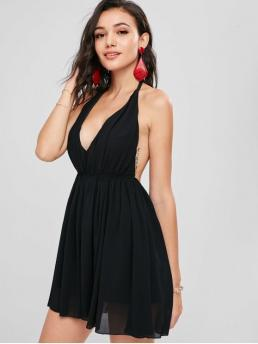 No Summer Solid Sleeveless Halter Mini Sundress A-Line Beach and Vacation Brief Halter Chiffon Mini Sun Party Dress