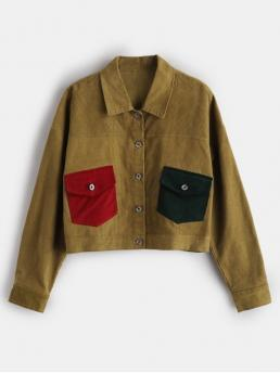 No Autumn and Winter Patchwork Shirt Full Short Slim Fashion Jackets Daily and Going Button Up Corduroy Shirt Jacket