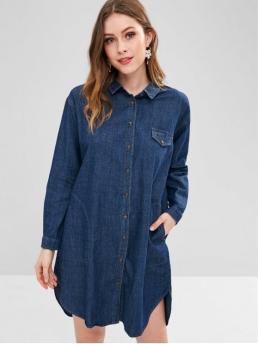 Fall No Solid Long Drop Shirt Shirt Straight Knee-Length Casual  Casual High Low Pocket Chambray Dress
