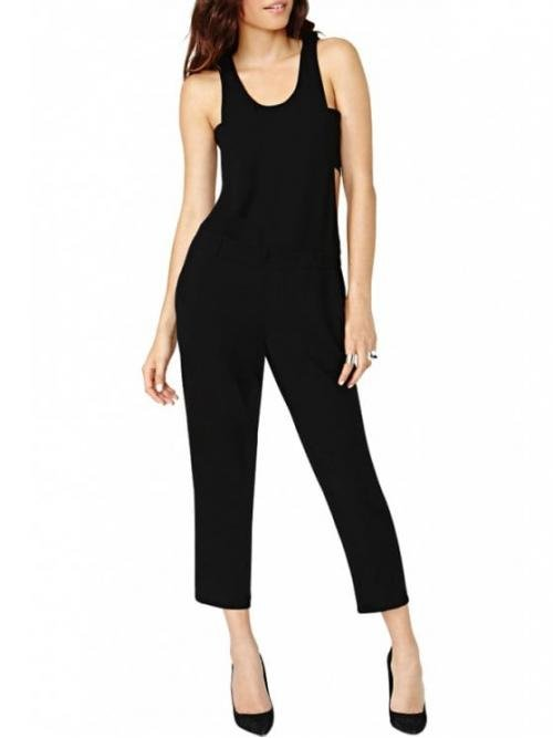 No Hollow Solid Straight Fashion Black Cut Out Sleeveless Jumpsuit