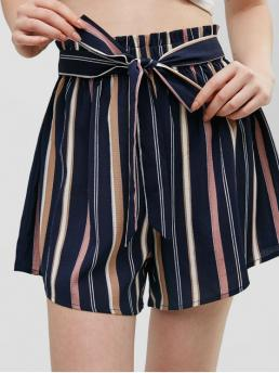 Summer No Nonelastic Standard Striped Flat Elastic High Regular Fashion Knotted Stripes High Waisted Shorts